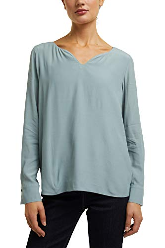 ESPRIT Collection Damen 100EO1F305 Bluse, 420/GREY Blue, 36