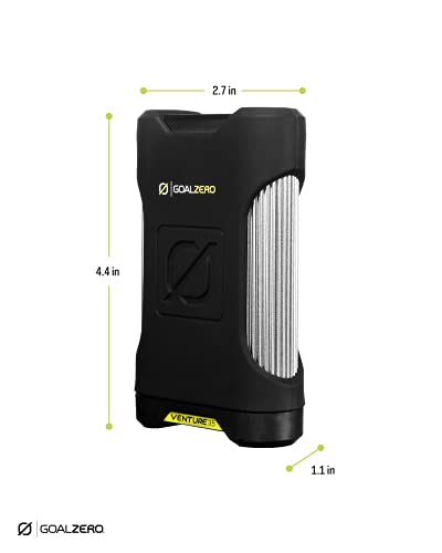 Goal Zero Venture 35 Portable Charger Power Bank with Nomad 10 Solar Panel Kit 9600mAH 18W USB-C Power Delivery Port, 2 USB Outputs IP67 Rating 50 Lumens Flashlight