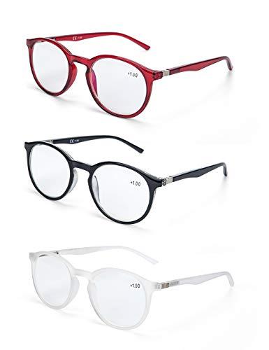 LANLANG Blaulichtfilter Brille Lesebrille 1,5 für Damen, Anti-Augenbelastung, einschließlich 0-3,5 Dioptrien, L-L006, 3 Stück