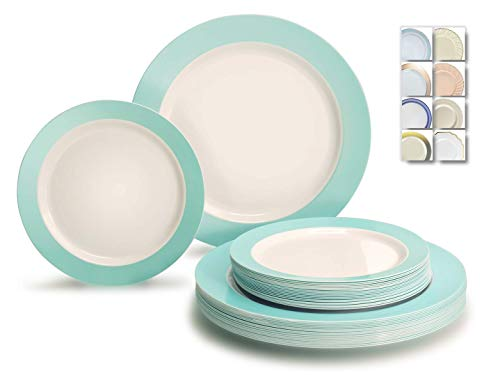 """"""" OCCASIONS"""" 50 Plates Pack (25 Guests)-Wedding Party Disposable Plastic Plate Set -25x10.5'' Dinner + 25x7.5'' Salad/dessert plates (Rio, White & Pearled Turquoise Blue)"""