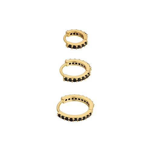 3pcs moda clásico Zircon redondo aro pendientes para las mujeres niñas boda joyería pendiente 925 plata de ley