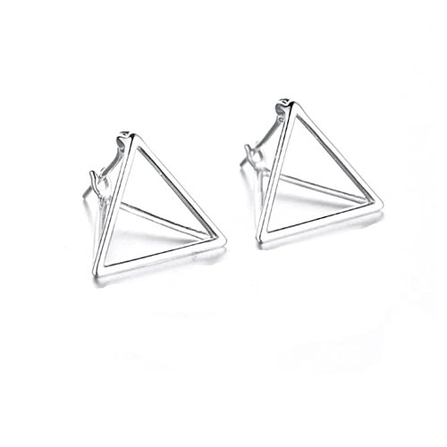 Helen de Lete Simple Geometric Triangle Sterling Silver Stud Earrings