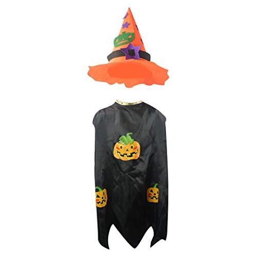 WFRAU 2 Stück Halloween Party Cosplay Kostüm für Mädchen Jungen,Kinder Magier Hexe Drucken Kap mit Zylinder,Mantel Poncho Outfit Leistungskleidung,Unisex Kleinkind Jumper Tops Neugeborenen Strampler
