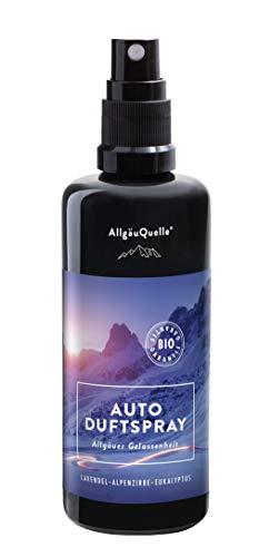 AllgäuQuelle   Natürlicher Bio Autoduft Spray als Autoerfrischer. Duftspray in Lavendel Alpenzirbe Eukalyptus. Der Auto-Duftspender.