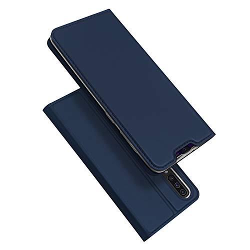 DUX DUCIS Coque Samsung Galaxy A50, Premium Étui de Protection [Stand Support] [Porte-Cartes de Crédit] [Fermeture Magnétique] TPU Bumper Housse en Cuir pour Samsung Galaxy A50 (Bleu Profond)