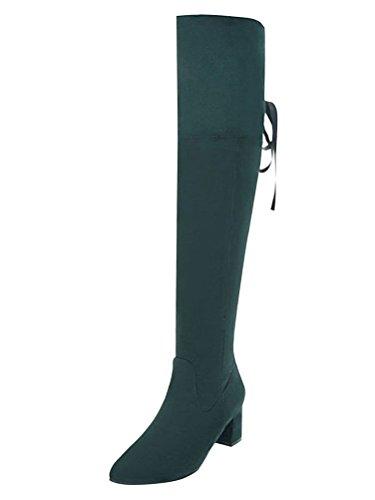 Minetom Mujer Botas Largas Moda Ata para Arriba Muslo Tacón Alto Invierno Otoño Elegante Tacón Ancho Casual Sexy Boots B Verde EU 39