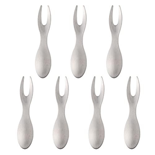 Lurrose 7 Piezas de Tenedores para Postres de Frutas Horquillas para Bocadillos de Acero Inoxidable Tenedores para Maíz para Barbacoa de Cocina Casera