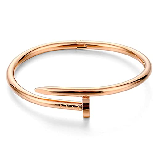 FILWO Steel Nail Shape Bracelet Titanium Steel Jewelry Cuff Bracelet Sliver Gild Plated Screws Cuff Bangle Suit for Fashion Women,Valentineâ€s Day,Motherâ€s Day,Birthday Gift,Jewelry Collection