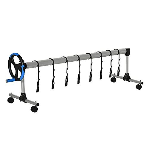Outsunny Enrollador de Cubiertas para Piscinas con Tubo Telescópico Ajustable 2-6 m de Aluminio y 8 Correas de Fijación 4 Ruedas con Freno 600x58x62 cm Plata