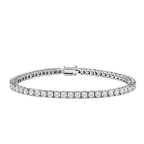 Voss+Agin 4ct Diamond Classic Tennis Bracelet in 14K White Gold, 7.25'', AGI Certified