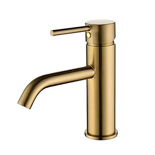 LHQ-HQ Grifo de baño pulido dorado del fregadero del lavabo del estilo de la moda grifo del recipiente de una sola manija agua caliente y fría grifos 156 x 96 mm oro