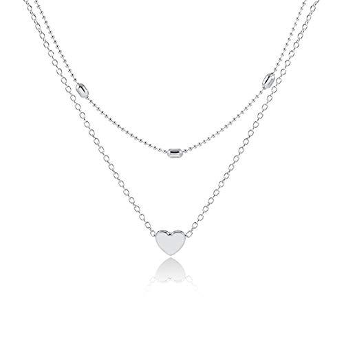 WikiMiu Collana multistrato per donne, con pendente a cuore, collana girocollo regolabile, gioielli fascino personalità, colore argento