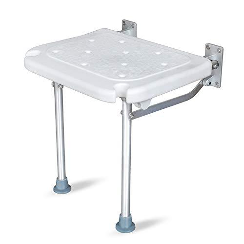 Kedelak Banco de ducha plegable Asiento de baño abatible con rosca Taburete de silla de baño montado en la pared con pies antideslizantes Orificios de drenaje Ranura para cabezal de ducha para