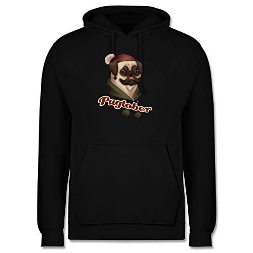 Shirtracer Hunde - Pugtober Mops - L - Schwarz - Tierliebe - JH001 - Herren Hoodie und Kapuzenpullover für Männer