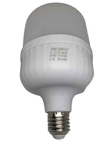 Bombillas LED de bajo consumo, 38 W, E27, 6000 K, color blanco, equivalente a 400 W, potente incandescente [clase energética A+]