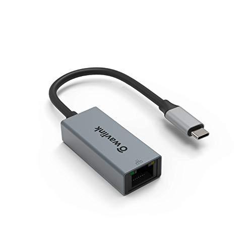 Adaptador de red USB C a Ethernet, WAVLINK USB C a RJ45 LAN, compatible con iPad, MacBook Pro/Air, Samsung, teléfono móvil, etc., color gris