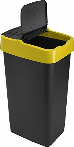 Sterling Ventures Heidrun 60L Plastic Indoor Recycling Bin with Double Swing Lid Top Colour Coded (Yellow)