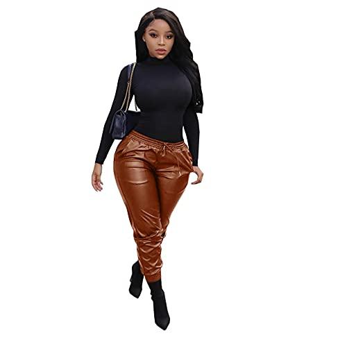 Dames Sexy Imitatie Leer Elastische Tailleband Leren Broek Nachtclub Bar DS Stadium Gewoontjes Leren Broek Kostuums,Brown,XXL