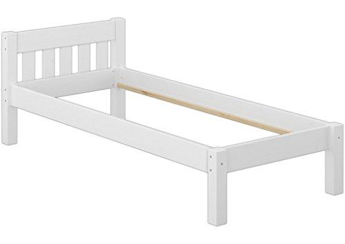 Erst-Holz® Jugendbett Kiefer weiß 90x200 Massivholzbett Futonbett Einzelbett ohne Zubehör 60.38-09 W oR