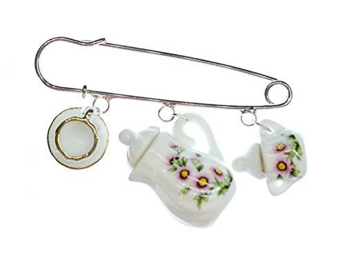 Miniblings Teatime Brosche Anstecker Teekanne Tasse Kännchen Blumen - Handmade Modeschmuck I Anstecknadel Button Pins