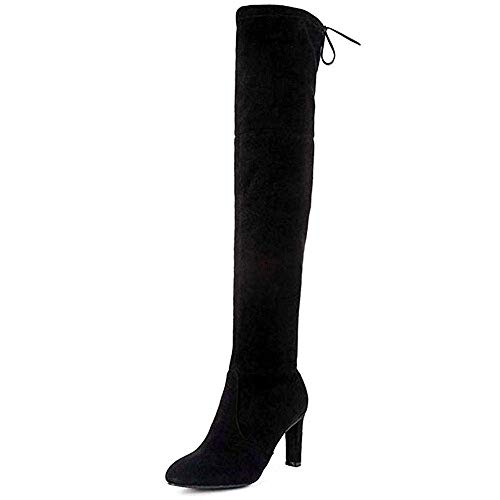 Women's Over The Knee Boots - Sexy Blake Drawstring Stretchy Pull on - Comfortable Block Heel Black SU 6.5
