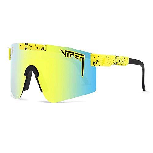NEWWORD Pit Viper Polarisierte Sonnenbrille Fahrradbrille Sportbrille Mit UV400-Schutz Für Outdoor-Sport Radfahren Laufen Klettern Angeln Golf Damen Herren (C4)