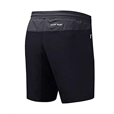 DADDY BABY Men's Casual Gym Shorts with Built-in Underwear and Zipper Pockets (XL, Black/Gray)