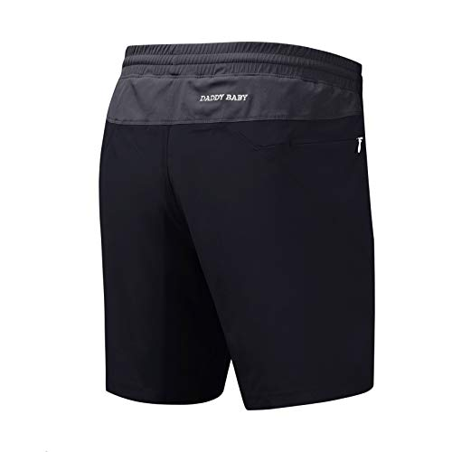DADDY BABY Men's Workout Running Performance Sport Shorts with Built-in Underwear and Zipper Pockets (XXL, Black/Gray)