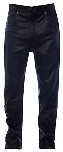 Infinity Hommes Classique Moto Motard Pantalon en Cuir Jeans 36