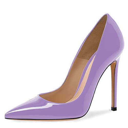 IMOSHINE Lavender Patent Leather Pointy Toe Stilettos High Heels Pumps Shoes for Women - Tacones Color Morado- Zapatos de Mujer Elegantes Size 10