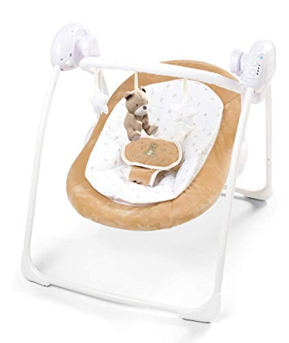 just 4 baby Deluxe Foldable Baby Bouncer Little Teddy Bear First Swing Soothing Music and Toys 0m+ (080), Brown