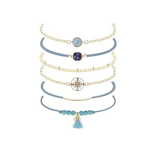 Shangwang - Juego de 6 pulseras de estilo retro para mujer, cuadradas redondas, brújula, perlas azules con flecos geometría dorada