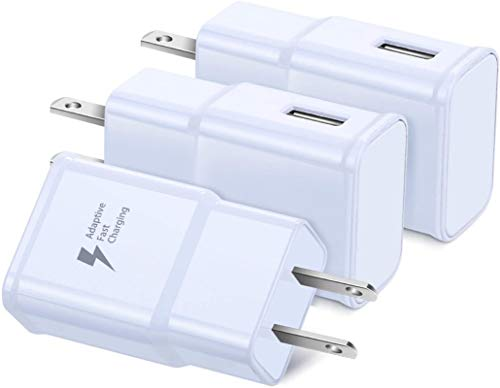 Adaptive Fast Charging Wall Charger, Qihop 3-Pack USB Wall Charger Fast Charger Block Travel USB Charging Block Compatible Samsung S10 S9 S8 S7, Note 8 9, iPhone, HTC and More (White)