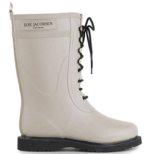 Ilse Jacobsen Damen Gummistiefel | Schuhe aus 100% Natur Bio Gummi | garantiert PVC frei | 3/4 Lange Stiefel mit Schnürsenkel aus 100% Baumwolle | RUB15 Grau 40 EU
