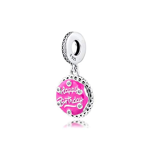 Diy Happy Birthday Beads 925 Sterling Silver Pink Cake Dangle Charm For Jewelry Making Gift