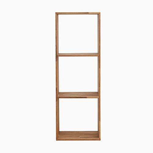 YINUO Étude de plancher bibliothèque bibliothèque coin bibliothèque en bois massif provincial salon fleur étagère écran étagère rack couleur du bois Taille: 43x35x124cm