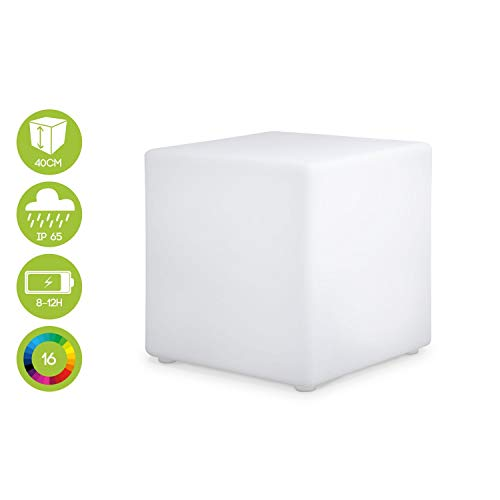 Cube LED 40cm - Cube décoratif lumineux, 16 couleurs, 40cm, rechargeable, télécommande