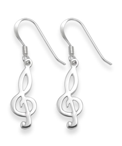 Heather Needham Sterling Silver Treble Clef Earrings - SIZE: 17mm Gift boxed. 6112