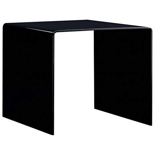 Tidyard Mesa de Centro,Mesa para Sofá de Vidrio Templado Negro 50x50x45 cm
