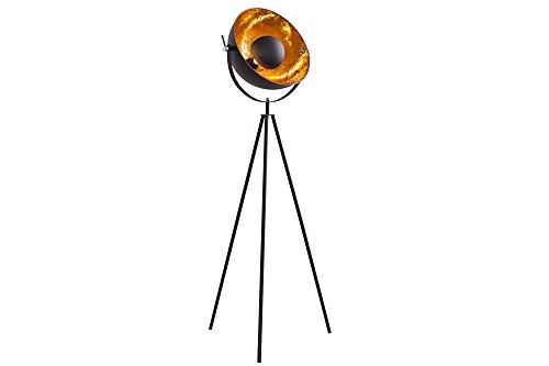 DuNord Design Stehlampe Stehleuchte CINEMA 140cm schwarz/gold Retro Design Lampe Spotlampe
