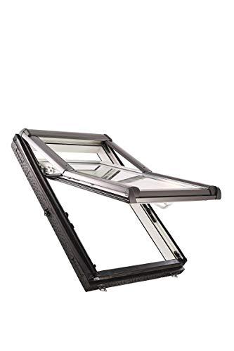 Roto Designo R7 WDF R75_K W WD AL Hoch-Schwingfenster aus Kunststoff mit Wärmedämmung und Eindeckrahmen (Eindeckrahmen: EDR Rx WD 1x1 ZIE AL, 74 x 118)