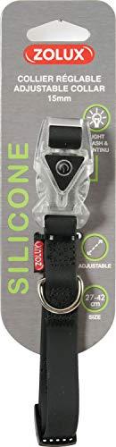 Zolux Collier Réglable en Silicone avec Boucle Lumineuse pour Chien Noir Largeur 15 mm 27 à 42 cm