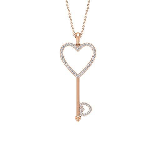 Ciondolo a forma di cuore con diamante certificato da 1/2 ct, a forma di chiave d'amore, antico cuore aperto, con incisione in oro, per uso quotidiano, ufficio, regalo, 14K Oro rosa Con Catena