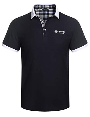 COOFANDY Herren Poloshirt Kurzarm Polohemd Regular Fit Polo Sommer Tshirt Knopfleiste Sport Polohemd für Männer Navyblau XL
