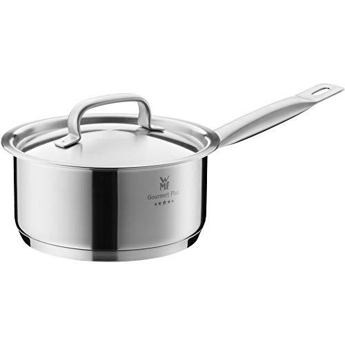 WMF Gourmet Plus Stielkasserolle 16 cm, Metalldeckel mit Dampföffnung, Kochtopf Induktion 1,4l, Cromargan Edelstahl mattiert, Innenskalierung