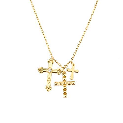 mingtian Invierno 925 Plata esterlina Oro Tres Cruces Colgante Encanto Collar de Cadena Larga 2021 joyería Fina de Moda 2021 Regalo