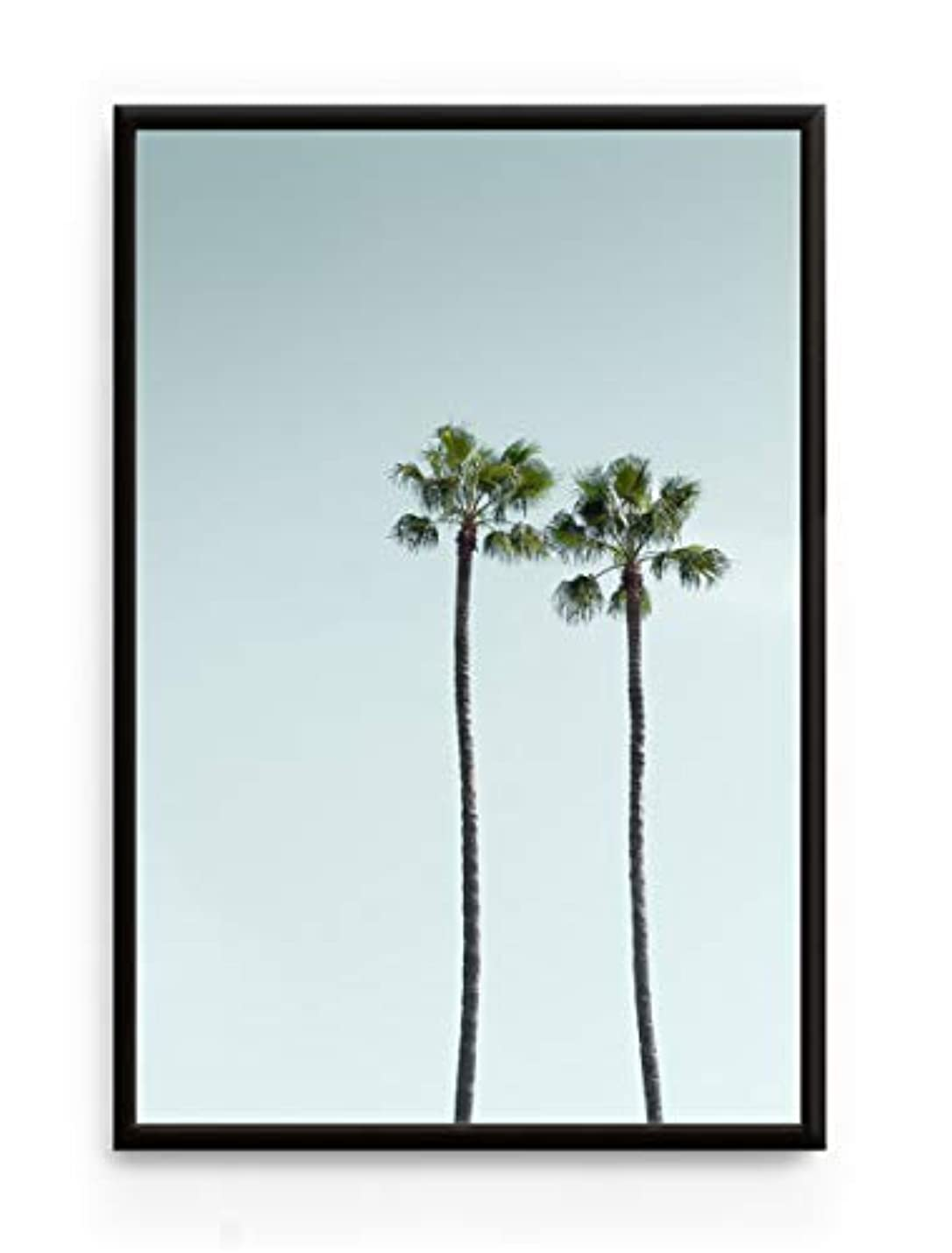 Los Angeles Palm Trees, Black Satin Aluminium Frame, with Mount, Multicolored, 20x30 lkmklvxgbtrjw895