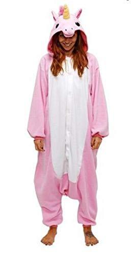 Anebalrui Einhorn Kostüm Tier Jumpsuits Pyjama Oberall Hausanzug Fastnachtskostuem Schlafanzug Schlafanzug Erwachsene Fasching Cosplay Karneval (S, Rosa Einhorn)