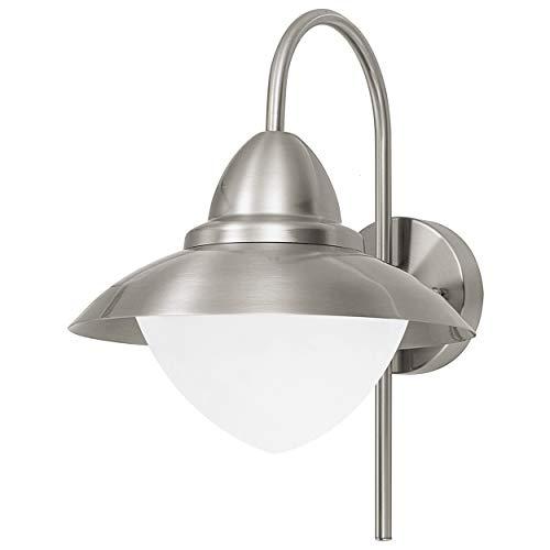 EGLO Außen-Wandlampe Sidney, 1 flammige Außenleuchte, Wandleuchte aus Edelstahl, Glas: Weiß, opal-matt, Farbe: Silber, Fassung: E27, IP44