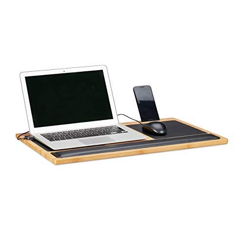 Relaxdays, Natur Laptoptisch, Knietablett, Laptop Unterlage, 2 Mousepads, Smartphone Halterung, BxT: 60 x 40 cm, Bambus, Standard